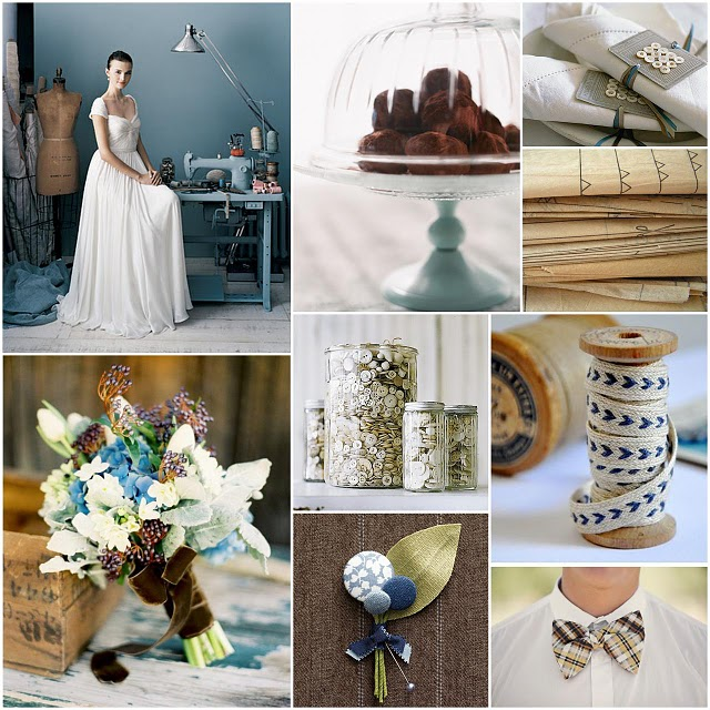 Sew+in+love+inspiration_+buttons_+spools_blue_brown_wedding
